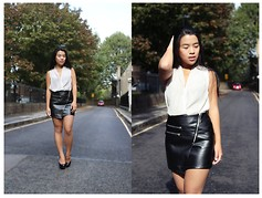 Thuy Pham - H&M Wrap Top, H&M Faux Leather Skirt - Leather good