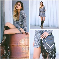 Jill Wallace - Lace & Whiskey Sass Dress, La Moda Alyssa Fringe Bag, Jeffrey Campbell Countess Boots - D O N T // T R I P