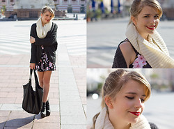 Elina Wagner - Black Milk Clothing Cherry Blossom Dress, Primark Bag, Ebay Cardigan - Cherry Blossoms in Autumn