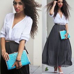 Larissa B. - H&M Sporty White Orange Strap Heels, Summum Dark Grey Pleated Maxi Skirt, In Love With Fashion White Blouse, La Moda Uk Blue Crocodile Look Clutch - Cleavage & pleats