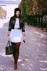 Carmen Adan - Bershka Skater Dress, Bershka Jacket Dot Silver, Chanel Bag, Versace Belt For H&M, H&M Hat, Christian Louboutin High Heels Peep Toe, Céline Sunglasses - PARIS act2
