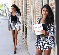 Tiffany Borland - Missguided Grid Blazer, Missguided Grid Shorts, Asos Platform Heels - One more thing.