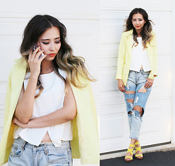 Queen Horsfall - Lightinthebox Yellow Blazer, Younghungryfree White Top, Blackfive Distressed Jean, Aldo Yellow Sandals - Yellow for good mood