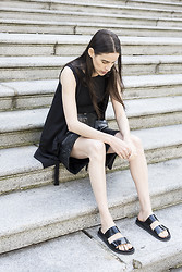 Melissa Araujo - Melissa Araujo Vest, American Apparel Crop Top, Vintage Leather Bermudas, Zara Sandals - Contemplating