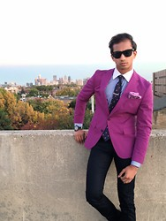 Viswanath Swamy - Hugo Boss Blazer, Algra Pinestripe Shirt, Breast Cancer Awareness Tie, Naked And Famous Dark Denim, Ray Ban Sunglasses, Movado Watch - Detroit Boy