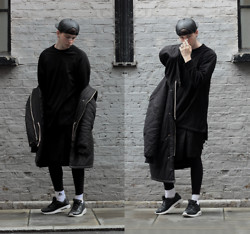 Joel Mcloughlin - Bond Hardware Metal Breathe Strip, Fabrixquare Parka, Adyn Essential Sweater, Asos Faux Leather Cap - BOND