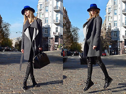 Anastasiia Masiutkina - Maison Michel Hat, Joseph Coat, Givenchy Bag, Gucci Sneakers, Elena Burenina Leather Trousers - Maison Michel Hat is more then just a Hat!