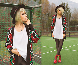 Gina Vadana - Only Metallic Pants, Dr. Martens Boots, Topshop Tank, Vintage Store Sweater - Hat & Roses