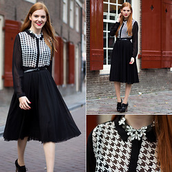 Sonja Vogel - New Yorker Houndstooth Sheer Blouse, House Of Lou Statement Necklace, H&M Tulle Skirt - Houndstooth Again