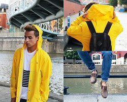 Gino Gino - Urban Outfitters Rains Jacket By Uo, Shoes From Friend's Grandpa, Topman Top Man T Shirt - YELLO FROM RAINS