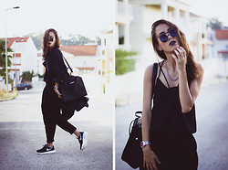Sofia Reis - Nike Sneakers, Zerouv Sunnies, Lamoda Bag, Sheinside Pants, Frontrowshop Trench - ONLY ONE