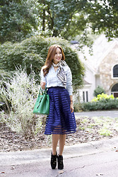 Christina Oh - Ann Taylor Top, Film On Girls Skirt, Tory Burch Shoes, Prada Bag, Chanel Scarf - DRESSING DOWN A LADYLIKE SKIRT