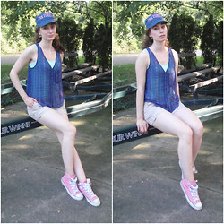 Pauline - Victoria's Secret Pink Military Hat, Forever 21 Sheer Aztec Tank, Converse Pink High Tops - Sittin Pretty Sporty