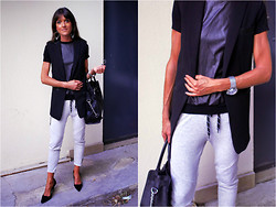 Jeanne - H&M Vest, Zara Leather Tee, Zara Joggers, Zara Pumps, Michael Kors Bag - Sporty Chic Weekend