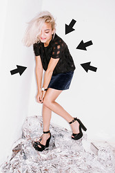 Doris Dave - Motel Rocks Plazma Check Sheer Tee, Vintage Velvet Skirt, Missguided Heels - CHECK ON IT! // Motel giveaway