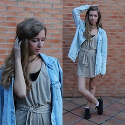 Alba Granda - Zara Jacket, Mango Beige Dress, Zara Basic Tee, Coolway Black Shoes - Blue&oversize