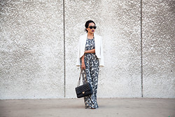 Joan Nguyen - Mango White Blazer, Chanel Jumbo Flap, Angl Clothing Jumper, Christian Dior Sunnies - Low Back Jumper for LA Fashion Week