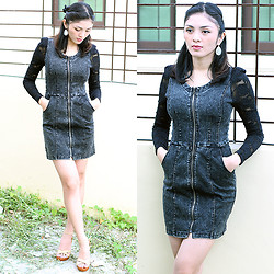 Emafe Rice - Payless Earrings, Soft Wool Denim Dress, So Fab Wedge/Wedges - Lace & Jeans