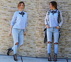 Andreea Ristea - Zara Statement Necklace, Zara Ripped Jeans, Pimkie Lace Up Sandals, Burberry Inspired Cardigan - Ripped jeans