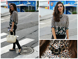Cristina Z. - Tidebuy Daisies Shirt, Tidebuy White Bag, Tidebuy Black Necklace, Tidebuy Heart Bracelet, Primark Flower Shoes, Stradivarius Black Pants - Daisies in fall