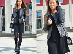 Stephanie Van Klev - Bershka Bikerjacket, Bershka Dress, Jimmy Choo Combat Booties, Chanel Bag, Zara Earring - COMBAT BOOTIES