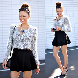 Jessica R. - Concrete Runway Crop Sweater, Black Skirt, Fergie Black Heels - Cream of the Crop