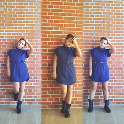 Cassie Fashion - Romwe Blue Dress, Dorothy Perkins Black Boots - Blue Collage Dress