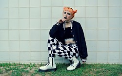 Elizabeth N - Dr. Martens Jadon Boot, Bad Vibes Check It Out Leggings, Unif Badsport Bra - SCHOOLGIRL Q