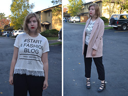 Elizabeth Claire - Pimkie #Start A Fashion Blog T Shirt, H&M Pink Coat, Jennifer Lopez For Kohls Black Trousers, Matty's Buckle Boots - Menswear and Lipstick OOTD