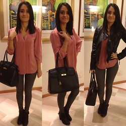 Valeria - H&M Blouse, Carpisa Bag, Calzedonia Leggings, Sheinside Jacket - Pink