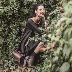 Elle-May Leckenby - Beara Leather Box Camera Bag, Soldier Boot, Black Flowing Dress - Blending in