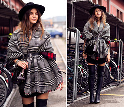 Michèle Krüsi - Zara Scarf, H&M Belt, Louis Vuitton Bag, Zign Over The Knee Boots, Maison Michel Hat - How to wear your scarf like a BOSS!