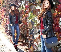 MJ KIM - Custom Made Leather Jacket, Marja Kurki, Siwy, Monolik - Autumn,leather, and burgundy