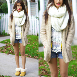 Kerina Mango - H&M White Infinity Scarf, Sheinside Cardigan - Sweater Weather