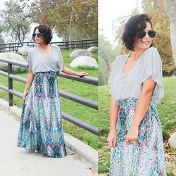 Claudia Felix Garay - Forever 21 V Neck Top, Shabby Apple Colorful Maxi Skirt, Gstage Aviators - Colorful World
