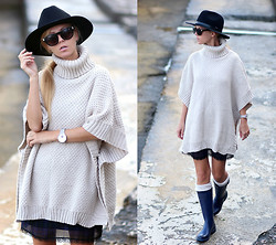 Sirma Markova - Choies Turtleneck Cape Sweater, Parfois Watch, Zara Dress - Nostalgic