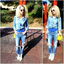 Theano Lazaridou - Stradivarius Shirt, Attrattivo Boyfriend Jeans, Melissa Shoes, Fullah Sugah Bag - ~ jeans to jeans ~