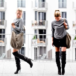 Fashiontwins - Unützer Stiefel, Topshop Rock, Comma Bag - Oversize vogue look