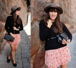 Vanessa P. - Mango Sweater, Stetson Fedora Hat, Zara Floral Dress, Chanel Boy Bag - Hats Are My New Go To Pieces