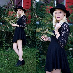 Destiny Millns - H&M Black Lace Dress, Wide Brimmed Hat - Things that go bump in the night.