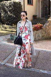 Tiffany Wang - Zara Long Trench, Forever 21 Floral Jumper, H&M Faux Fur Drawstring Bag - 10 15