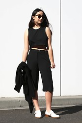 Kristy Wu - Long Cardigan, Loafers, Culottes, Karen Walker Number One Sunglasses - What is Personal Style?