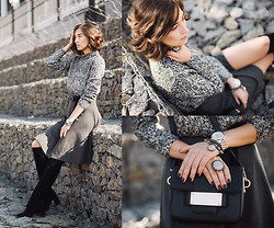 Irina Fedorova - H&M Cropped Sweater, Stradivarius Midi Skirt, Befree Bag, Michael Kors Watch - Shades of Grey