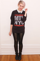 Emmy Geraghty - Contraband Metallic Jeans, Kimichi Blue Boots, Junk Food Mtv Nyc Sweatshirt, Kimichi Blue Embellished Button Up - All That Glitters Is Awesome