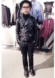 Connoisseur Christian - Topman Motorcycle Jacket, Dockers Checked Chinos - Connoisseur Christian x Topman Chicago
