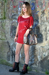 Katarina & Kristina S - Guess? Blouse, Miss Sixty Bag, Giorgio Armani Sunglasses, So B Børre Olsen Bracelet - RED