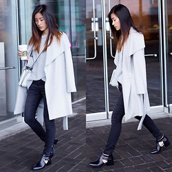 Claire Liu - Mango Coat, S E N O Booties - Shades of Grey