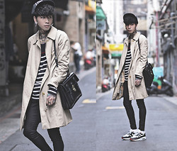 IVAN Chang - Burberry Vintage Trench Coat, Tastemaker 達新美 Snap Back, Mcving Black Leather Briefcase Satchel, Nike Air Max 1 City London, Topman Black Skinny Jeans - 171014 TODAY STYLE