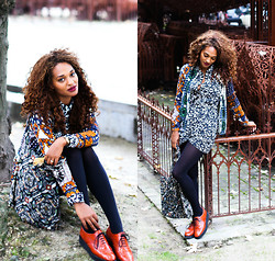Van Rosen - &Other Stories African Cardigan, H&M Printed Jumpsuit, Perfect Orange Derbys - Prints mix match for FALL