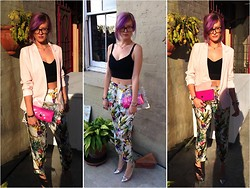 Emi B - Dorothy Perkins Blazer, F'd Up Crop Top, Zeitgeist Silk Pants, Ebay Clear Clutch, Kate Spade Wallet, Boohoo Heels - Silk at Sunset in Spring